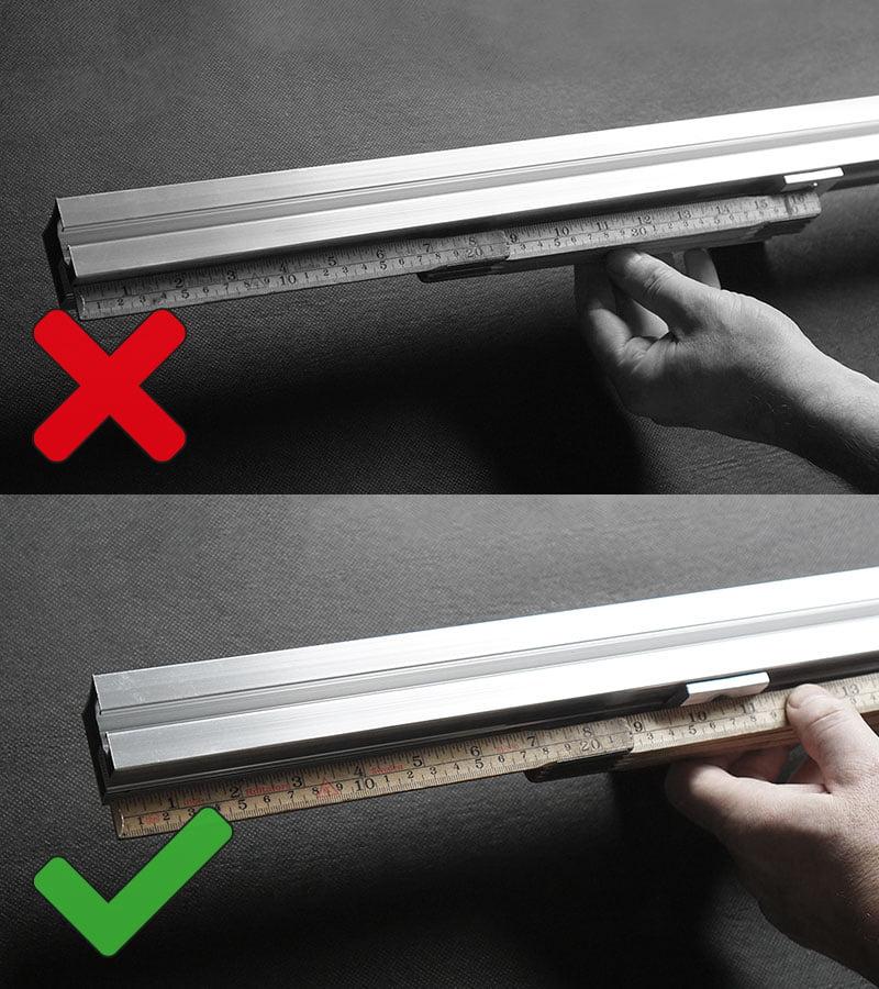Överhäng på skena får EJ vara mer än 250 mm.