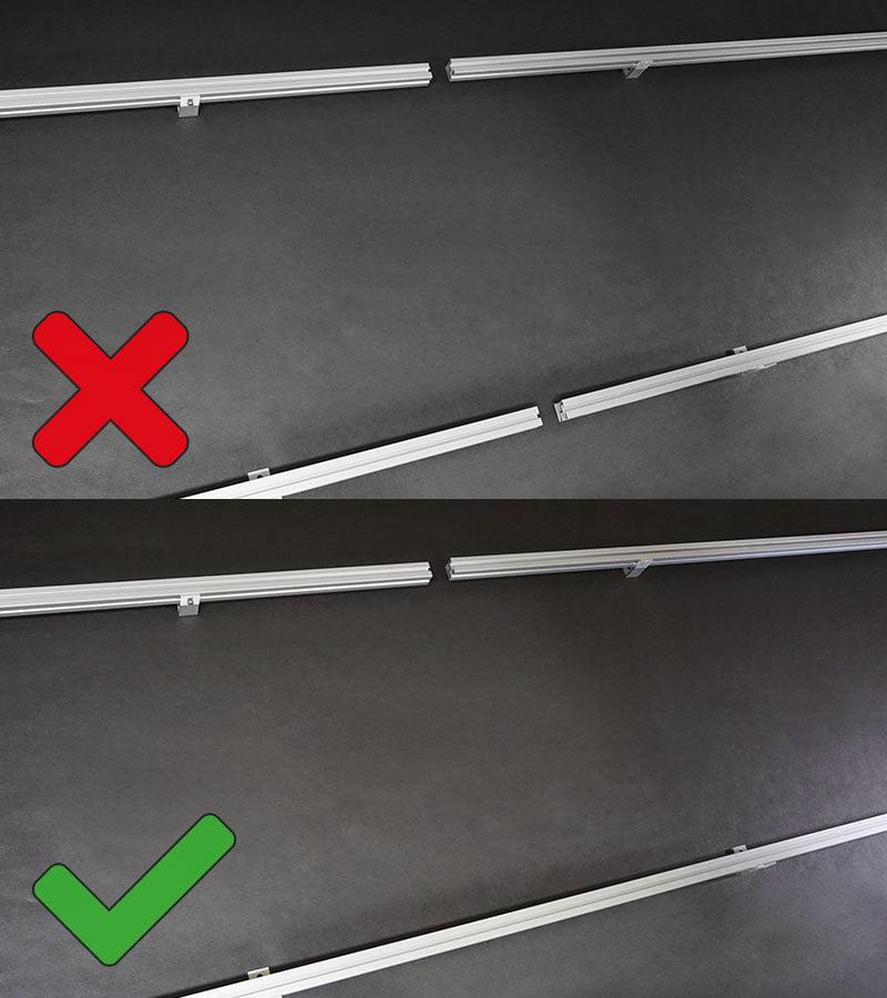 Skarvar på skenor skall förskjutas och får EJ placeras under samma solcellspanel.